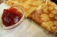 Bliny - Russian pancakes served with jam, honey or cream