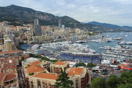 A Palace with a view - Monaco's main harbour, with F1 grandstands in the foreground.