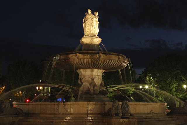 The fountain marks the centre of Aix-en-Provence.