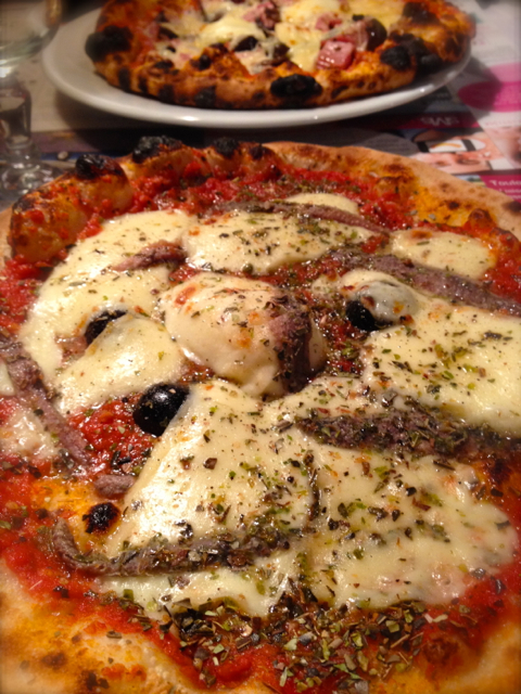 You can't beat a stone fired pizza with anchovies and black olives!
