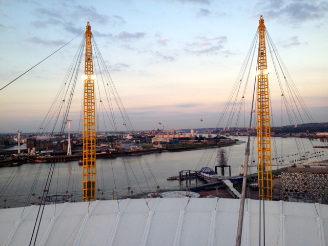 The Thames wraps around the O2 - this view looks out to London City Airport