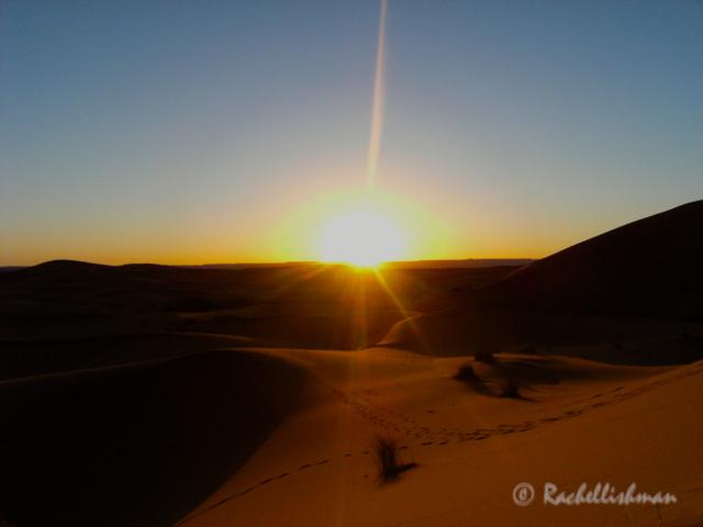 Sunrise in the Sahara desert...
