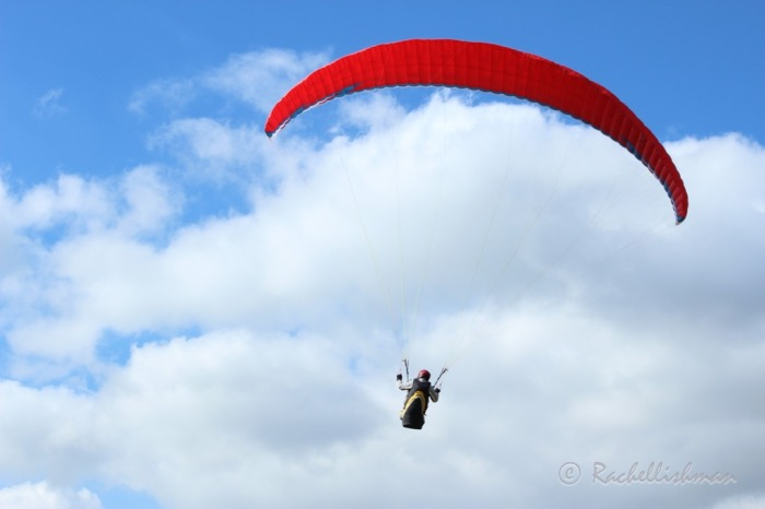 Paragliders make the most of the late-summer weather over Mam Tor