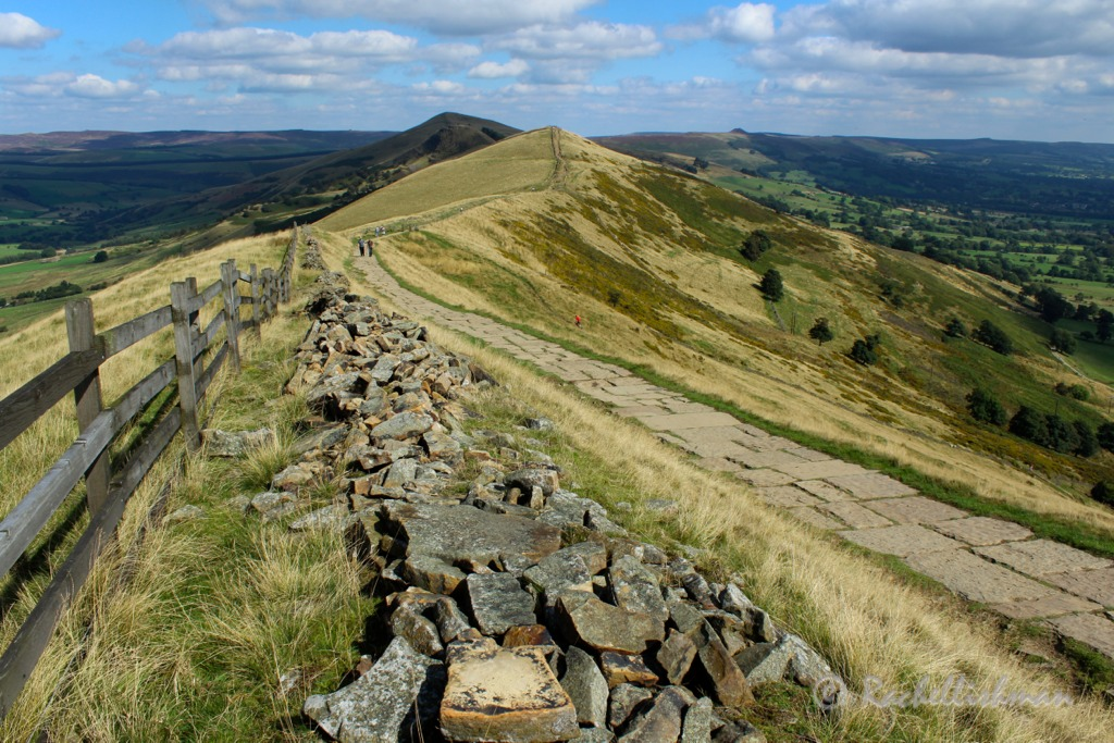 After Mam Tor's peak, the ridge stretches out towards the horizon