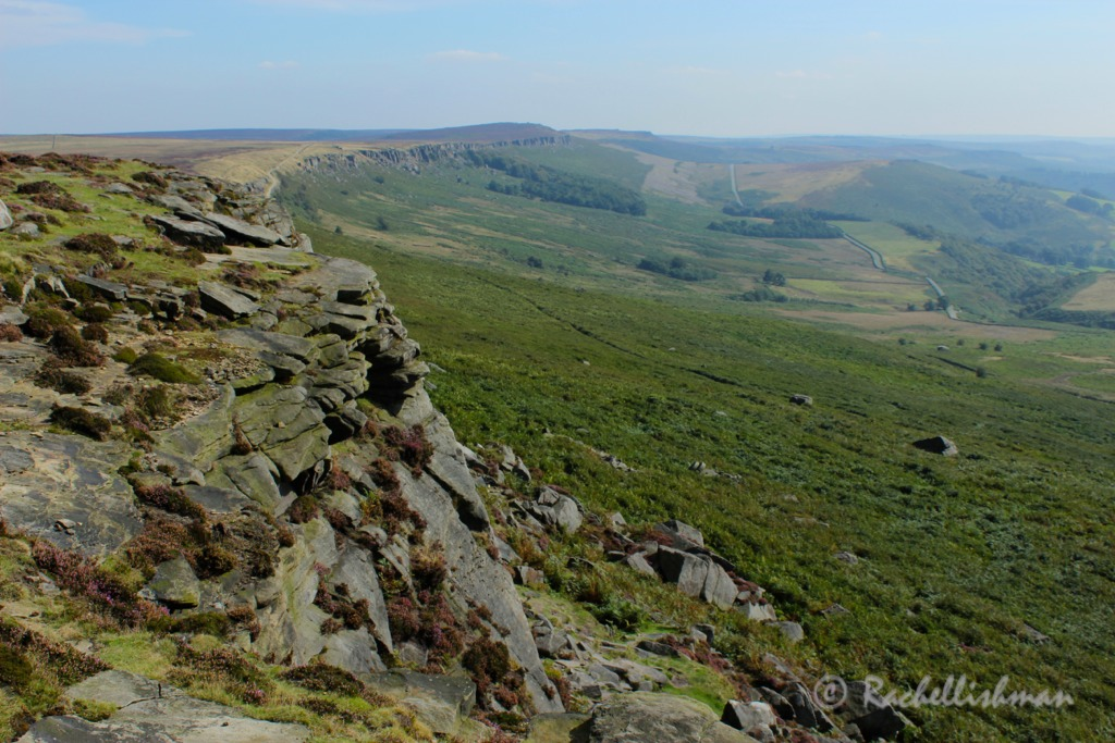Worth the climb. Stanage Edge gradually winds into Hathersage Valley