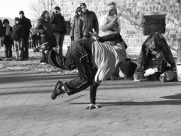 Break Dancers entertain crowds outside the Staten Island Ferry Terminal