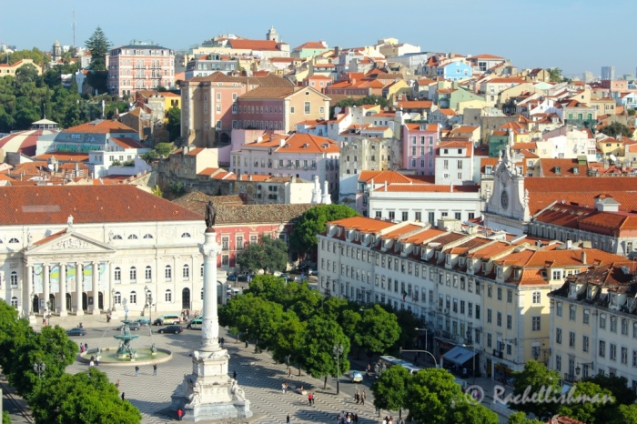 An early morning view of Rossio square from the top of the Elevador de Santa Justa