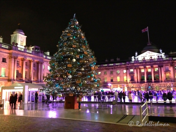 Ice skaters amid the beautiful buildings of Somerset House.