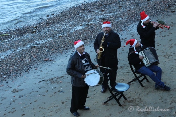 A Mexican jazz band play in santa's hats on the banks of the Thames!