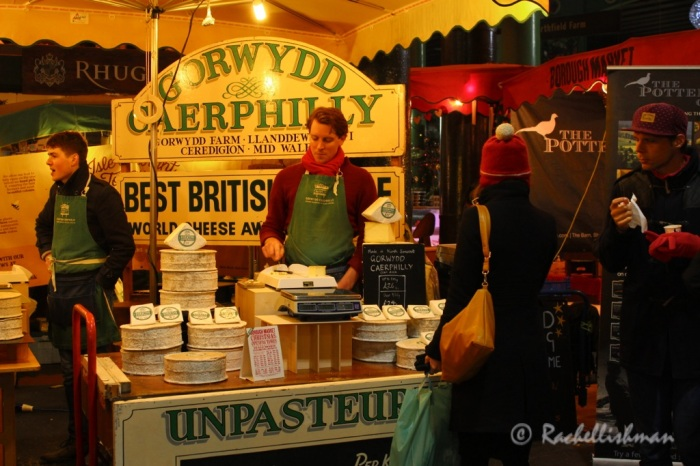Free cheese tastings at Borough Market...with a Christmas song soundtrack