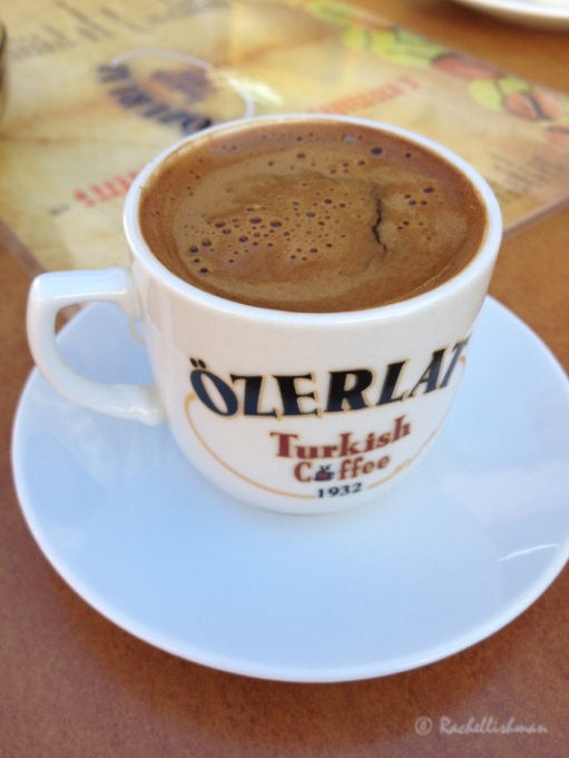 Turkish coffee is strong and sweet and can be enjoyed with a view of the mosque