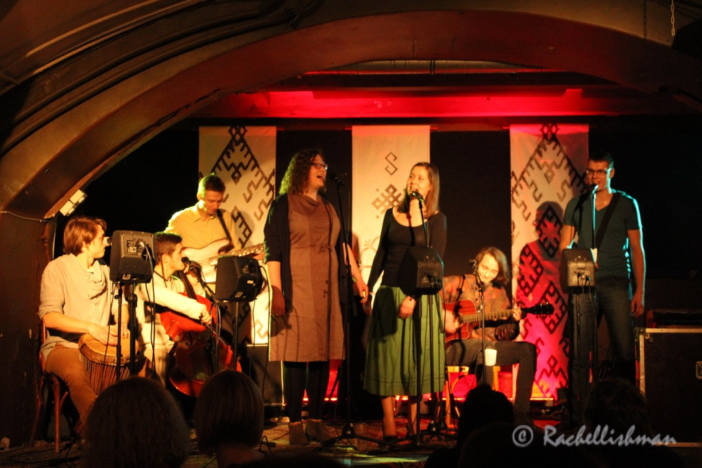 A young folk band entertain crowds on a Saturday night at FolksKlubs Ala Pagrabs