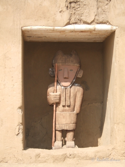 Carved guards within Chan Chan mud city, Peru (now on UNESCO's endangered list)