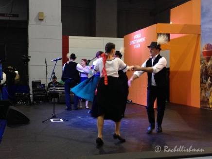 Destinations Show 2014: Traditional dancers warm up on stage