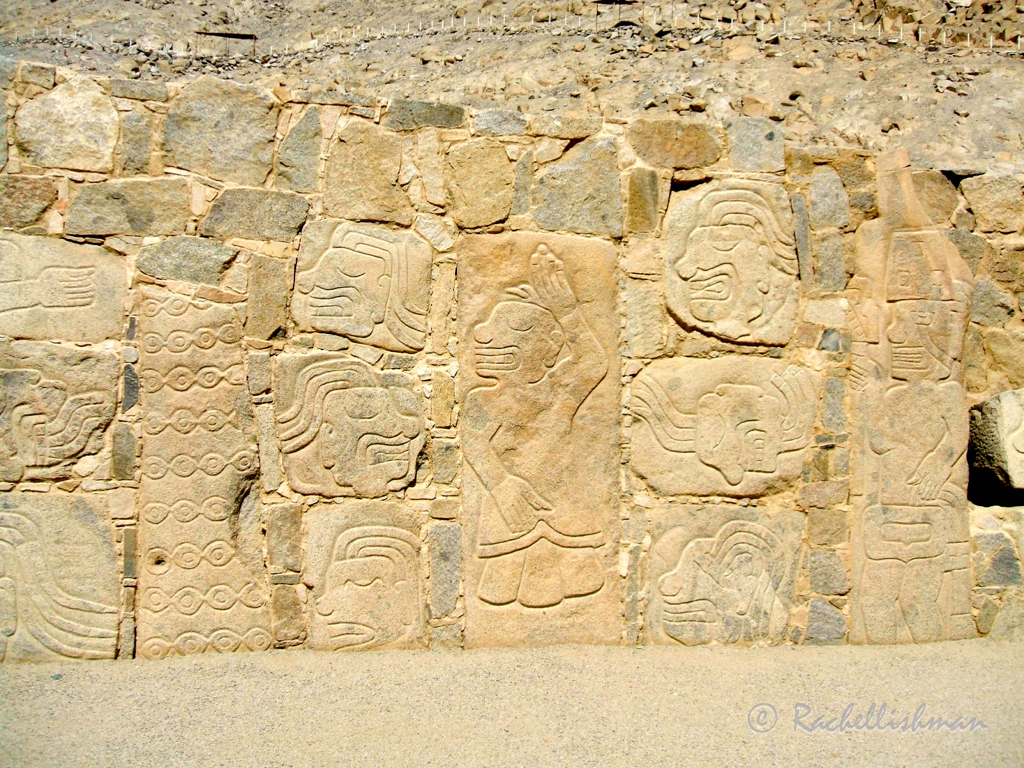 Wall engravings at the Sechin ruins, Peru