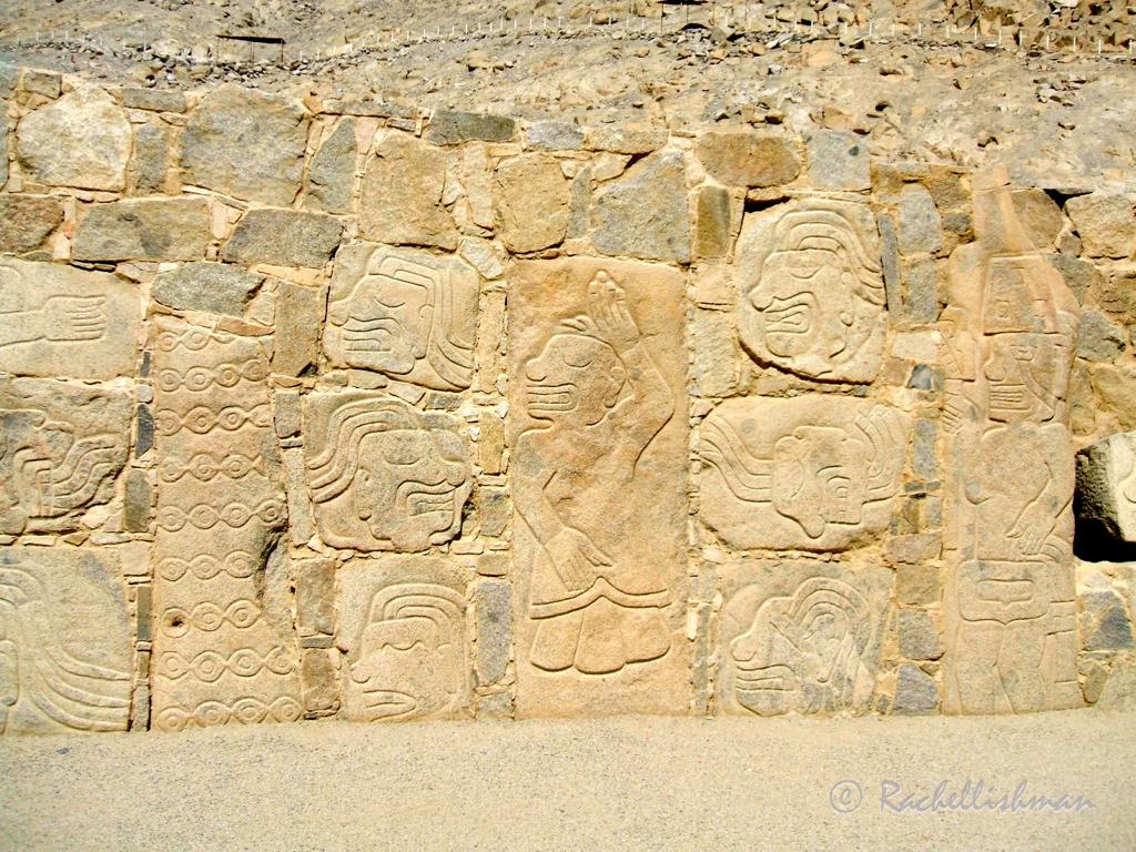 Wall engravings at the Sechin ruins, Peru