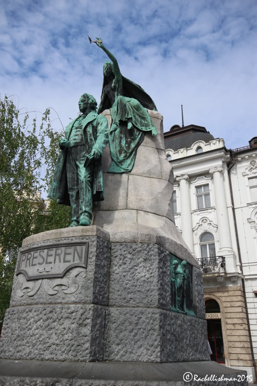 Preseren and his muse in Ljubljana's main square