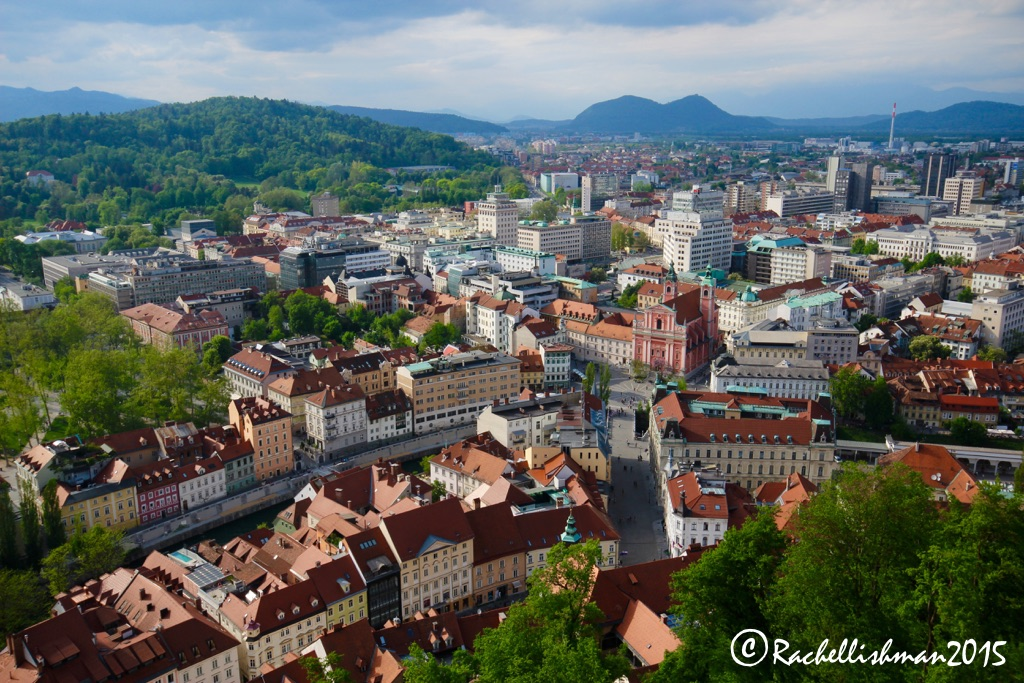 A view of old and new Ljubljana from the castle ramparts