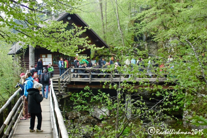 Tourists gather around the small cafe at Vintgar Gorge