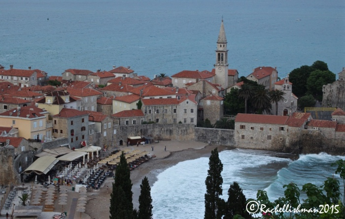 The old town of Budva and it's modern beach front cafes...