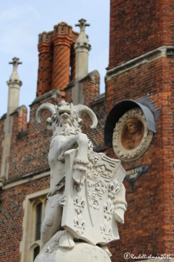 The entrance to the Palace is a bridge adorned with the King's Beasts (heraldic animals) This one is the Yale of Beaufort
