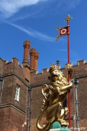 As part of the 500th celebrations a special Tudor style court garden has been planted with herbs and roses. The King's Beasts (here England's lion) also appear here