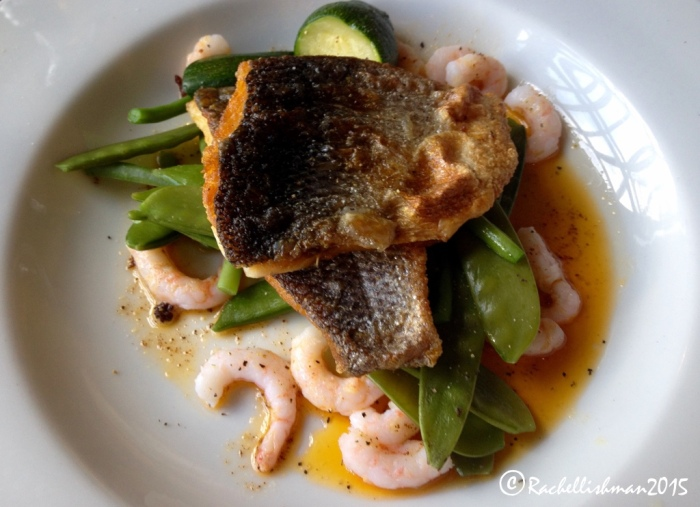 Sea bass with chorizo ad prawn dressing at The King Arthur Pub and Hotel