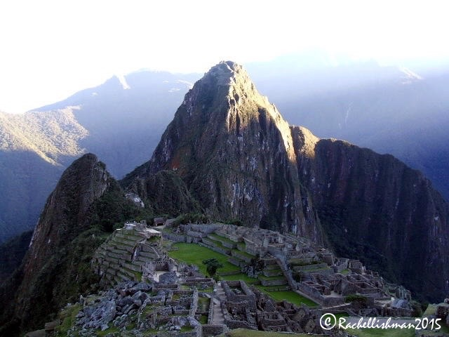 The bit that takes your breath away: Machu Picchu with Huayna Picchu peak rising above it at sunrise