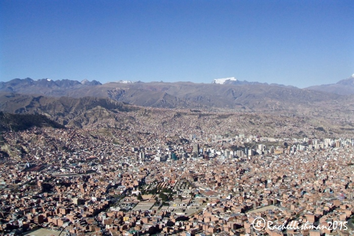 The urban spread of La Paz reaches out to the surrounding mountains