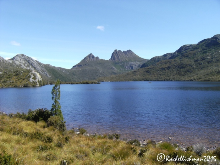 The steep summit of Cradle Mountain can easily be seen from Dove Lake