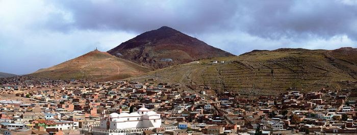 A view of Potosi and its 'Cerro Rico' (Rich Mountain) Image courtesy of Martin St-Amant - Wikipedia - CC-BY-SA-3.0