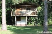 Wooden cabins at Finca Ixobel