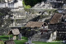 Early-bird visitors to Tikal's ruin soak in the history before the crowds arrive